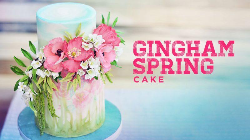 Gingham Spring Cake